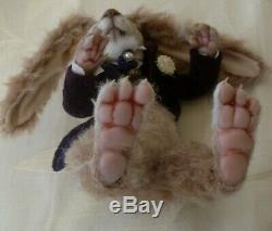 Ooak hare/mohair /hand made, art doll/soft sculpt bear