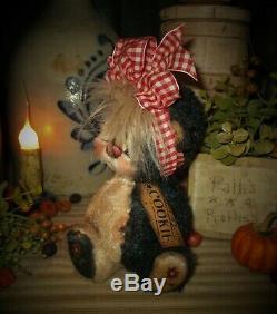 Patti's Ratties 7 Bear Cookie Star Black White Cub OOAK Doll Artist Sikes