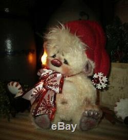 Patti's Ratties 7 Eggnog Bear Cub Christmas OOAK Gift Doll Artist Sikes