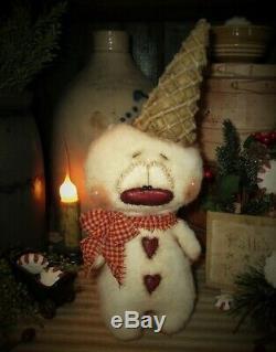 Primitive Patti's Ratties 11 Snowman Valentine Snow Cone OOAK Doll Artist Sikes