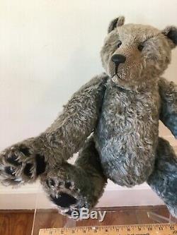RARE GREGORY GYLLENSHIP Grey MOHAIR VINTAGE Teddy Bear