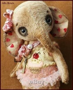 READY to SHIP Alla Bears artist OOAK Elephant doll baby shower cupcake pink