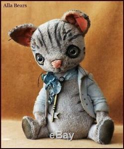 READY to SHIP Alla Bears artist Teddy Bear art doll OOAK girl tabby cat pet