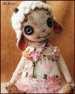 READY to SHIP Alla Bears artist Vintage baby sheep lamb nursery art doll OOAK