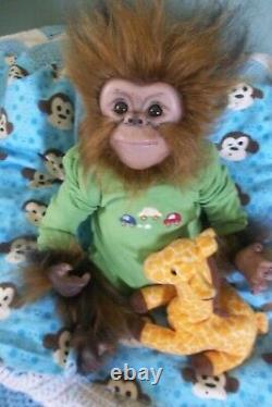 REBORN MONKEY BABY artist doll APE CHIMP CHAZ orangutan ANIMAL HYBRID OOAK