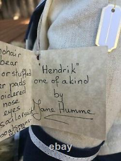 Rare JANE HUMME Mohair Artist Teddy Bears HENDRIX Sailor Navy Vintage OOAK 19