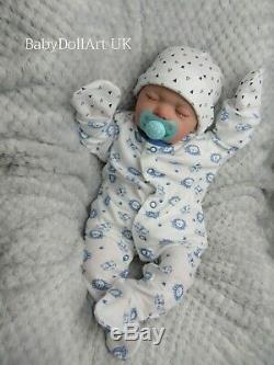 Reborn Baby BOY Doll, Newborn 18 Sleeping Baby Logan 4lbs, UK ARTIST