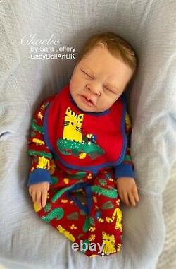 Reborn Baby Boy Doll Charlie LTD COA 155/500 Fussy by UK Artist Sara Jeffery