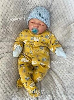 Reborn Baby Boy Doll, Sleeping Baby Jax by UK Artist Sara Jeffery BabyDollArtUK
