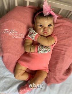 Reborn Baby Girl Doll FeiYen, 22 Asian Baby by UK Artist Sara Jeffery