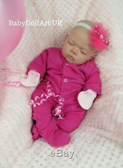Reborn Baby girl Doll, 18 sleeping baby girl Sweet Pea HANDMADE by UK Artist