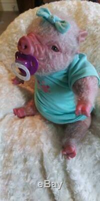 Reborn Pink Piglet Baby Doll Piggy Artist Hybrid Alternative Pig Animal
