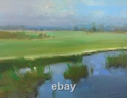 Summer Pond, Original Oil painting, Handmade artwork, One of a kind