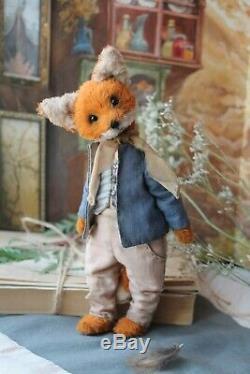 Teddy Handmade Interior Toy Collectable Gift Animal Doll OOAK Fox Decor