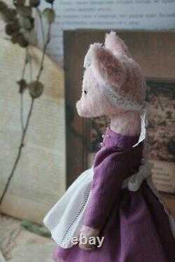 Teddy Handmade Interior Toy Collectable Gift Animal Doll OOAK Pig Piggy Piglet