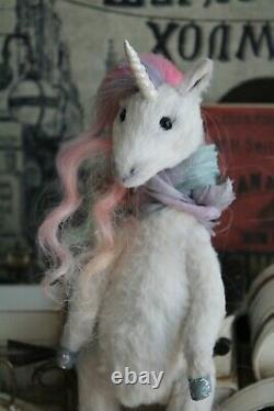 Teddy Handmade Interior Toy Collectable Gift Animal Doll OOAK Unicorn Fairy