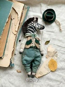 Teddy Handmade Interior Toy Collectable Gift Animal OOAK Zebra Cowboy Doll Decor