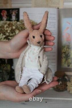 Teddy Handmade Toy Gift OOAK Doll Bear Easter Rabbit Hare Bunny Decor