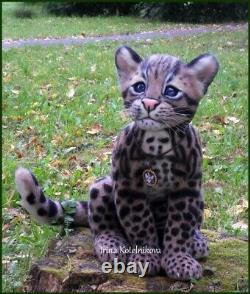 Unique, one of a kind needle felt ocelot kitten, leopard cat, long-tailed cat