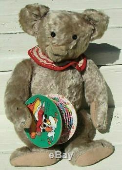 Vintage Black Teddy Bear 14 Artist Diane Turbarg Rare Antique Red W Blue Button