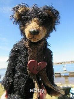 Vintage Teddy Bear Black Mohair Long Arms 12 Artist Tag Mariel Making Memories