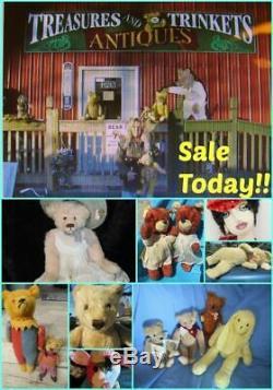 Vintage Teddy Bear Curly Mohair Long Arms 15 Artist Tag Mariel Making Memories
