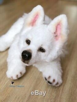 White swiss shepherd Puppy/dog 19,7in(50 cm) realistic toy
