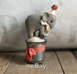 Wonderful Handmade Felt Elephant Pin Cushion in Antique Cup by Jennifer Murphy