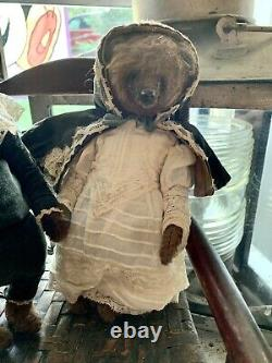 Wonderful Russian Artist Bear 10 Inches With Velvet Hand Made Clothes Girl