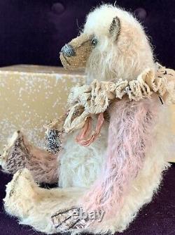 10 Pink & White Shabby Mohair Artiste Ours De Whendi's Bears Ooak Création