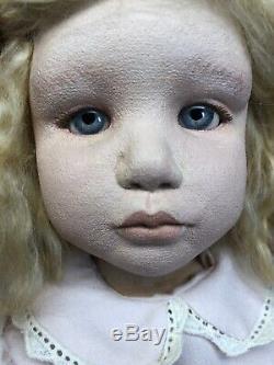 17 Ooak Artiste Poupée En Tissu & Peinture À L'huile Limitée Page Par Kate Lackman Blonde