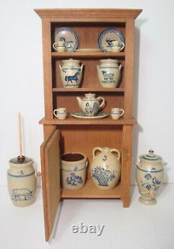 1988 Paul Rouleau Armoire Hutch + 15 Pièces Artiste Igma Jane Graber Stoneware 112