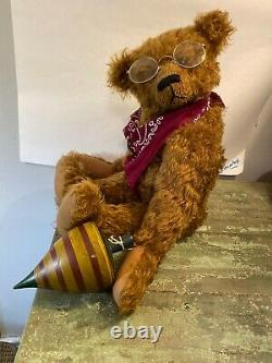 20 Ooak Heidi Steiner Bear Mohair Joint Théodore Avec Son Plateau En Bois