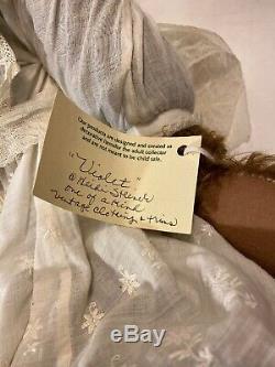 21 Ooak Heidi Steiner Signé Ours Mohair Violet Vêtements De Dentelle Vintage