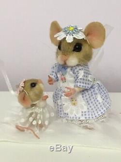 Aiguille Felted Souris Dolly & Daisy Main Souris Poupée Teddy Ooak Par Suzanne