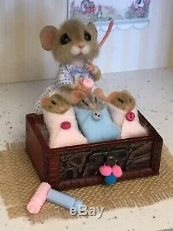 Aiguille Felted Souris Lou & Triplettes Main Ooak Souris Cadeau Teddy Par Suzanne