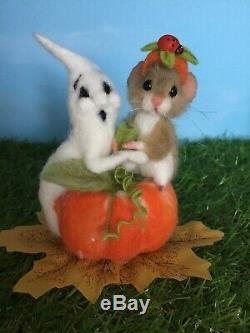 Aiguille Felted Souris Truffes Halloween Ghost Teddy Souris Ooak Par Suzanne