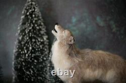 Aiguille Feutrée Hurlement Gris Wolf Woodland Forêt Animal Wool Art Sculpture Décor