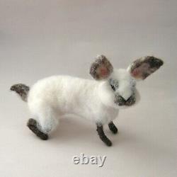 Aiguilles En Feutre Lapin Lapin 7 Sculpture Animale Artisanale Art Par Tamara