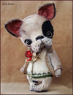 Alla Bears Artiste Old Antique Puppy Bear Poupée D'art Ooak Garçon Animal De Décoration Jouet Unique