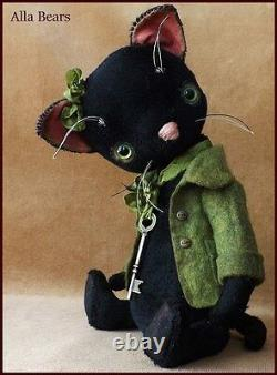 Alla Bears Artiste Old Cat Art Poupée Ooak Fille Animaux De Compagnie Décoration Vert