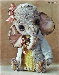 Alla Bears Artiste Old Vintage Éléphant Art Poupée Ensoleillé Bébé Rose Jaune Rose Rose