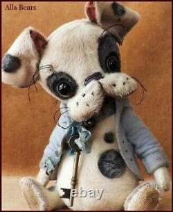 Alla Bears Artiste Ooak Boston Terrier Antique Art Poupée Chien Jouet Pour Animaux De Compagnie