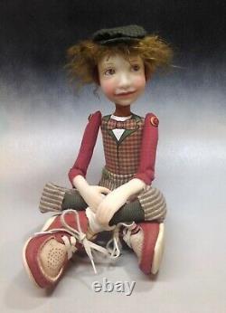 Artist Doll Boy Par Dianne Adam Brown Hair Big Shoes Ooak