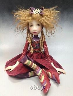 Artist Doll Par Dianne Adam Blond Hair Dreads Freckles Red Shoes Ooak