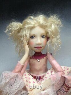 Artist Doll Par Dianne Adam Blond Hair Freckles Gold Shoes Ooak