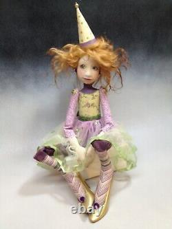 Artist Doll Par Dianne Adam Clown Red Hair Freckles Gold Shoes Ooak