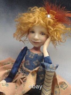 Artist Doll Par Dianne Adam Red Hair Freckles Black/gold Shoes Ooak