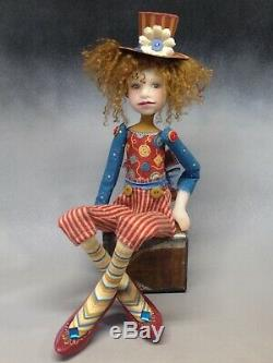 Artiste Doll Auburn Hair Top Hat Freckles Red Shoes Ooak