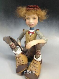 Artiste Doll Boy Red Hair Freckles Wing Tip Chaussures Ooak